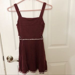 Maroon Dress with White Flowers & Side Cutouts